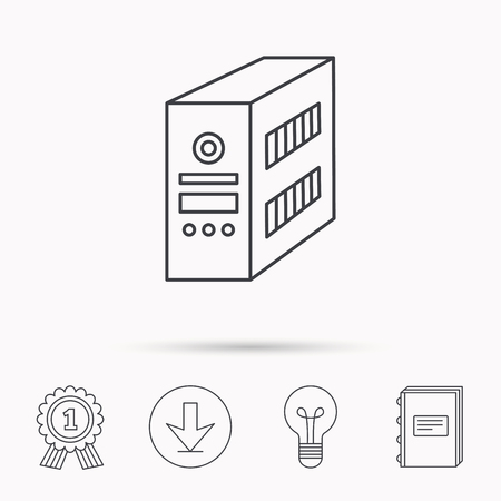 book case: Computer server icon. PC case or tower sign. Download arrow, lamp, learn book and award medal icons.