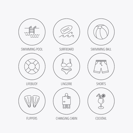 swimming shorts: Surfboard, swimming pool and trunks icons. Beach ball, lingerie and shorts linear signs. Lifebuoy, cocktail and changing cabin icons. Linear colored in circle edge icons.