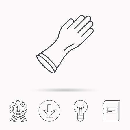 rubber gloves: Rubber gloves icon. Latex hand protection sign. Housework cleaning equipment symbol. Download arrow, lamp, learn book and award medal icons.