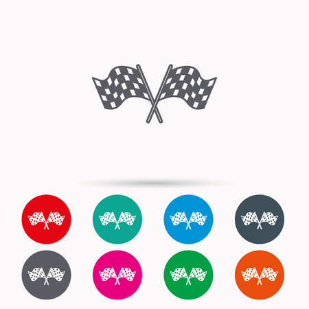 crosswise: Crosswise racing flags icon. Finishing symbol. Linear icons in circles on white background. Illustration