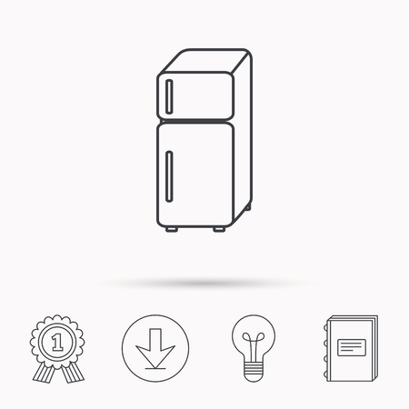 fridge lamp: Refrigerator icon. Fridge sign. Download arrow, lamp, learn book and award medal icons. Illustration