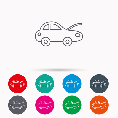 breakage: Car repair icon. Mechanic service sign. Linear icons in circles on white background.