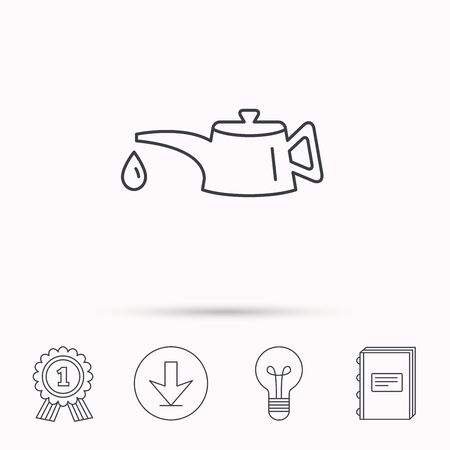 motor oil: Motor oil icon. Fuel can with drop sign. Download arrow, lamp, learn book and award medal icons. Illustration