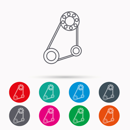 alternator: Timing belt icon. Generator strap sign. Repair service symbol. Linear icons in circles on white background.