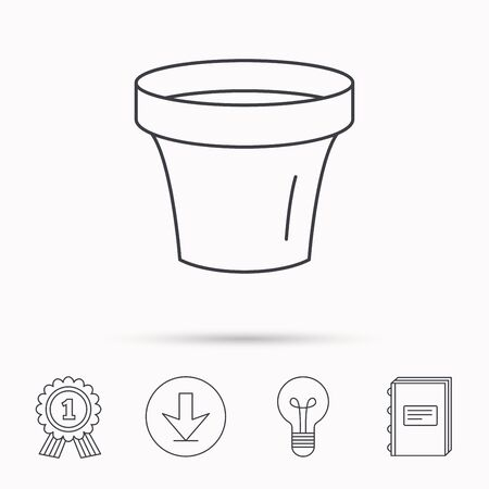 flower lamp: Flower pot icon. Gardening ceramic container sign. Download arrow, lamp, learn book and award medal icons.