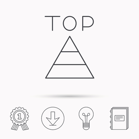 result: Triangle icon. Top or best result sign. Success symbol. Download arrow, lamp, learn book and award medal icons.