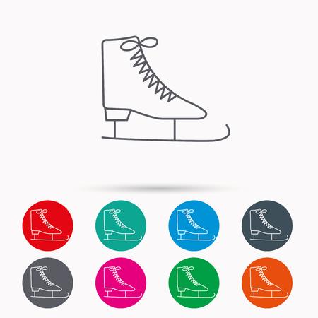 Schlittschuhe Symbol. Abbildung Ausrüstung Zeichen Skaten. Professionelle Wintersport-Symbol. Lineare Symbole im Kreis auf weißem Hintergrund.