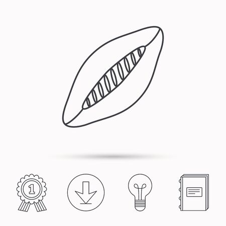 american downloads: Rugby ball icon. American football sign. Download arrow, lamp, learn book and award medal icons. Illustration