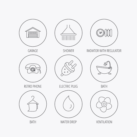 Ventilation, heat radiator and electric plug. Retro phone, shower and garage linear signs. Water drop, bath towel icons. Linear colored in circle edge icons. Illustration