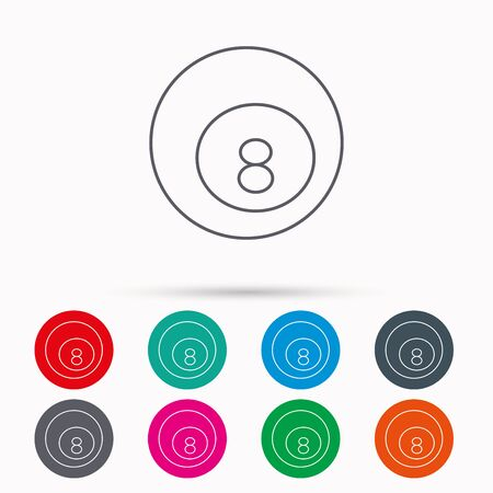 snooker cue: Billiard ball icon. Pool or snooker equipment sign. Cue sports symbol. Linear icons in circles on white background.