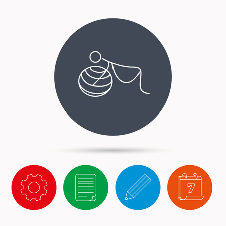 breathing exercise: Gymnastic for pregnant icon. Pilates fitness sign. Sport workout symbol. Calendar, cogwheel, document file and pencil icons.
