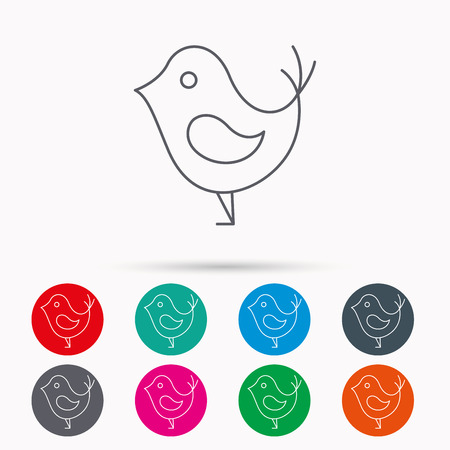 fowl: Bird with beak icon. Cute small fowl symbol. Social media concept sign. Linear icons in circles on white background. Illustration