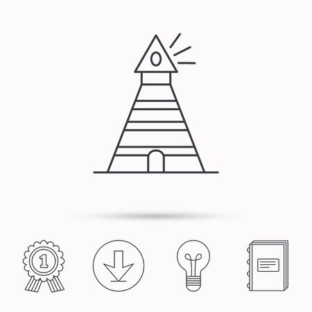 searchlight: Lighthouse icon. Searchlight signal sign. Coast tower symbol. Download arrow, lamp, learn book and award medal icons. Illustration