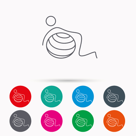 body toning: Gymnastic ball icon. Pilates fitness sign. Sport workout symbol. Linear icons in circles on white background.