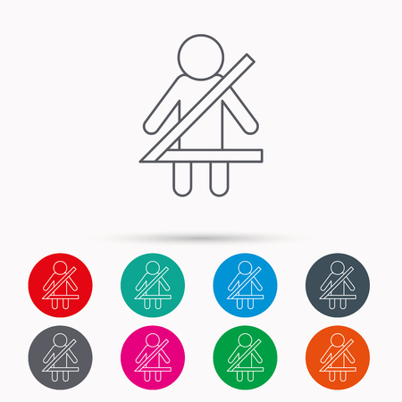 fasten: Fasten seat belt icon. Human silhouette sign. Linear icons in circles on white background. Illustration