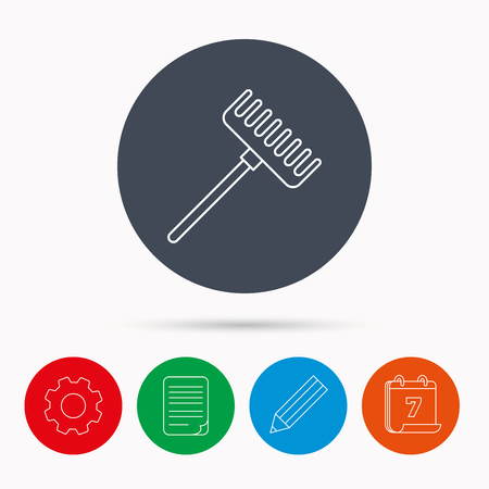 gardening  equipment: Rake icon. Gardening equipment sign. Outdoor instrument symbol. Calendar, cogwheel, document file and pencil icons.