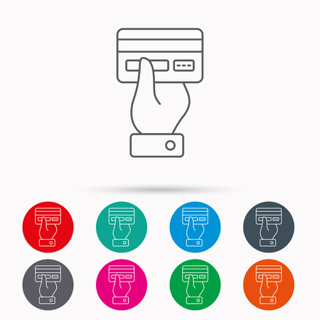 cashless: Credit card icon. Giving hand sign. Cashless paying or buying symbol. Linear icons in circles on white background. Illustration