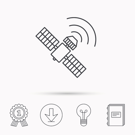 satellite navigation: GPS icon. Satellite navigation sign. Download arrow, lamp, learn book and award medal icons. Illustration