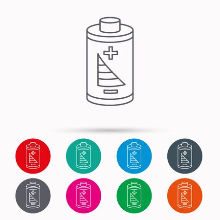 rechargeable: Battery icon. Electrical power sign. Rechargeable energy symbol. Linear icons in circles on white background.