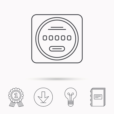 kilowatt: Electricity power counter icon. Measurement sign. Download arrow, lamp, learn book and award medal icons.