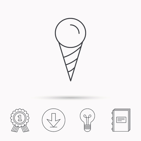 frozen dessert: Ice cream icon. Sweet dessert in waffle cone sign. Frozen food symbol. Download arrow, lamp, learn book and award medal icons.