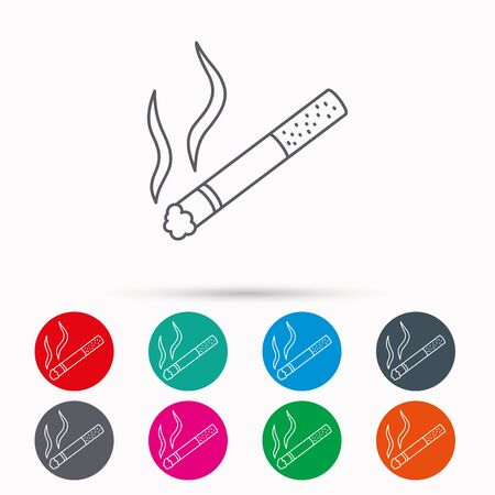 cigar shape: Smoking allowed icon. Yes smoke sign. Linear icons in circles on white background.