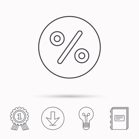 special education: Discount percent icon. Sale sign. Special offer symbol. Download arrow, lamp, learn book and award medal icons.