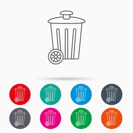 trash container: Recycle bin icon. Trash container sign. Street rubbish symbol. Linear icons in circles on white background.