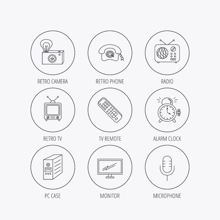 pc case: Retro camera, radio and phone call icons. Monitor, PC case and microphone linear signs. TV remote, alarm clock icons. Linear colored in circle edge icons. Illustration