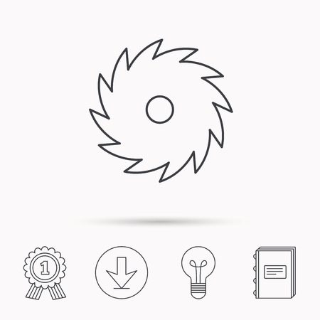 cutoff blade: Circular saw icon. Cutting disk sign. Woodworking sawblade symbol. Download arrow, lamp, learn book and award medal icons.
