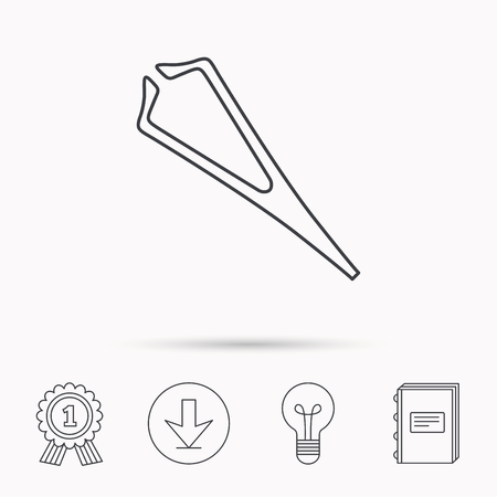 tweezer: Medical tweezers icon. Cosmetic equipment sign. Download arrow, lamp, learn book and award medal icons. Illustration