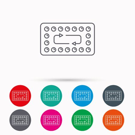 contraception: Contraception pills icon. Pharmacology drugs sign. Linear icons in circles on white background.