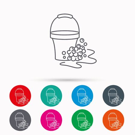 soapy: Soapy cleaning icon. Bucket with foam and bubbles sign. Linear icons in circles on white background. Illustration