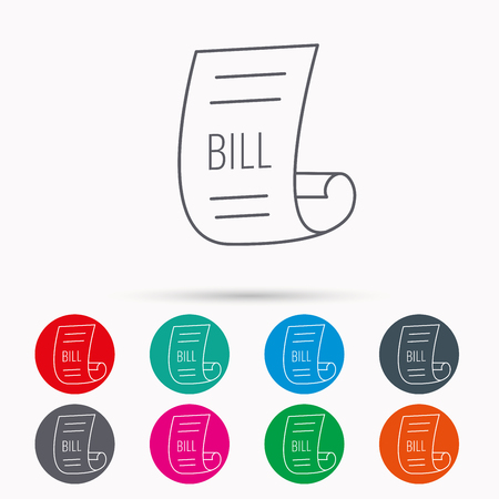 pay bill: Bill icon. Pay document sign. Business invoice or receipt symbol. Linear icons in circles on white background. Illustration