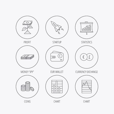 deceleration: Profit investment, cash money and startup rocket icons. Wallet, currency exchange and euro linear signs. Chart, coins and statistics icons. Linear colored in circle edge icons. Illustration