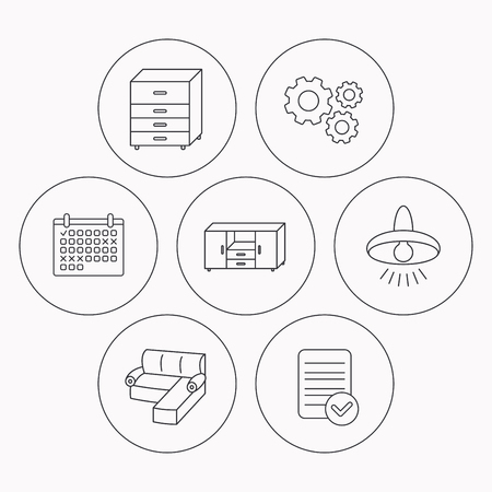 drawers: Corner sofa, ceiling lamp and chest of drawers icons. Furniture linear signs. Check file, calendar and cogwheel icons. Vector Illustration