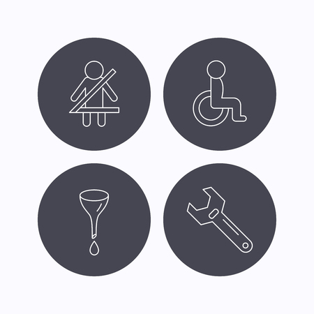 wheel change: Seat belt, oil change and wrench tool icons. Disabled person linear sign. Flat icons in circle buttons on white background. Vector