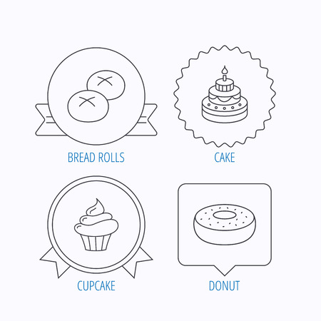 bread rolls: Cupcake, cake and bread rolls icons. Sweet donut linear sign. Award medal, star label and speech bubble designs. Vector