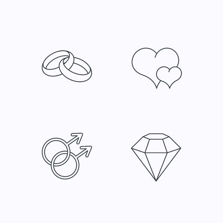 gay love: Love heart, diamond and wedding rings icons. Gay love linear sign. Flat linear icons on white background. Vector Illustration