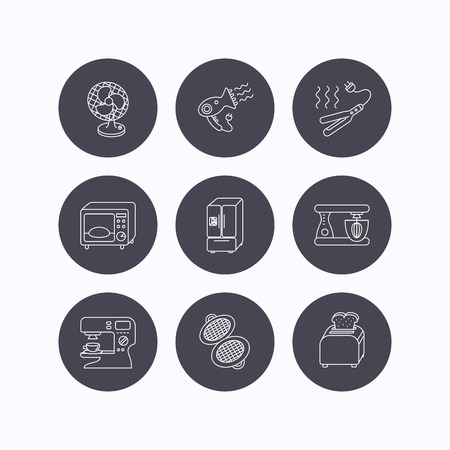 ventilator: Microwave oven, hair dryer and blender icons. Refrigerator fridge, coffee maker and toaster linear signs. Ventilator, curling iron and waffle-iron icons. Flat icons in circle buttons on white background. Vector