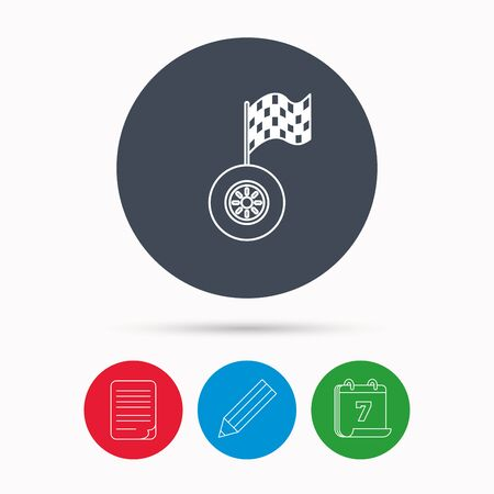 racing sign: Race icon. Wheel with racing flag sign. Calendar, pencil or edit and document file signs. Vector