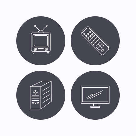tv monitor: Retro TV, monitor and pc case icons. TV remote linear sign. Flat icons in circle buttons on white background. Vector Illustration