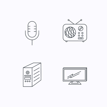tv retro: TV, retro radio and microphone icons. PC case linear sign. Flat linear icons on white background. Vector