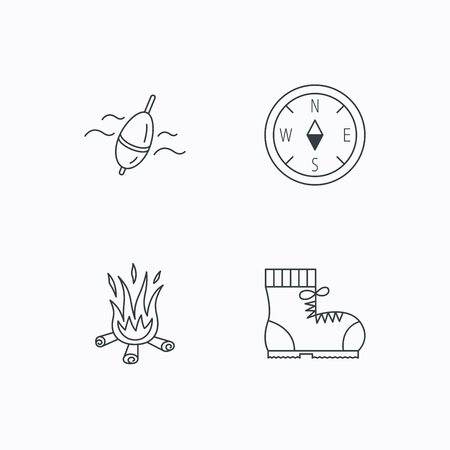 hiking boots: Bonfire, fishing float and hiking boots icons. Compass linear sign. Flat linear icons on white background. Vector Illustration