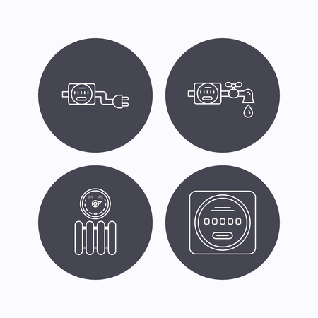 canalization: Electricity, radiator and water counter icons. Counter linear sign. Flat icons in circle buttons on white background. Vector