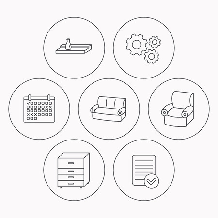 chest wall: Sofa, wall shelf and armchair icons. Chest of drawers linear sign. Check file, calendar and cogwheel icons. Vector