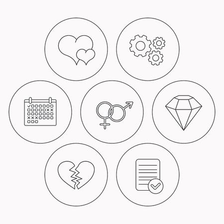 brilliant heart: Love heart, brilliant diamond and male, female icons. Broken heart or divorce linear sign. Check file, calendar and cogwheel icons. Vector