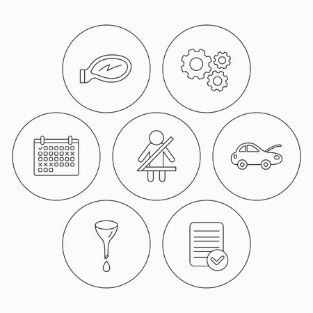 to fasten: Car mirror repair, oil change and seat belt icons. Fasten seat belt linear sign. Check file, calendar and cogwheel icons. Vector Illustration