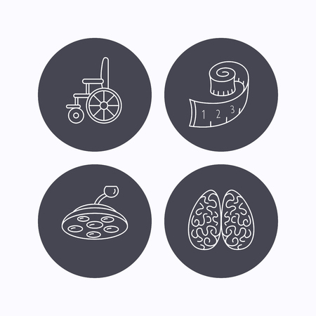 neurosurgery: Wheelchair, neurology and weight loss icons. Surgical lamp linear sign. Flat icons in circle buttons on white background. Vector Illustration