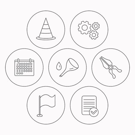 oil change: Flag, traffic cone and oil change icons. Pliers linear sign. Check file, calendar and cogwheel icons. Vector Illustration